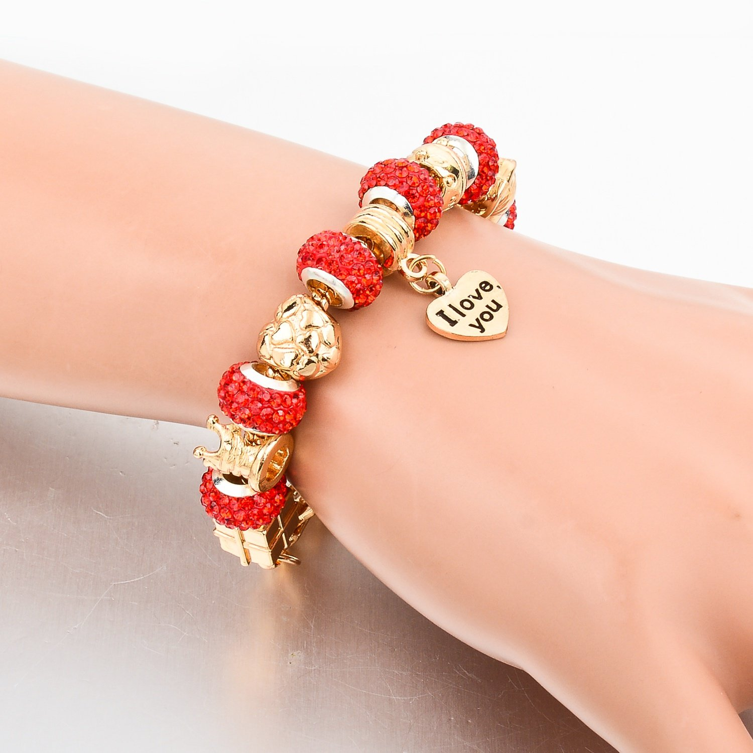 Long Way Gold Plated Snake Chain Glass Beads ''I Love You'' Charm Beaded Bracelets for Women by Long Way (Image #4)