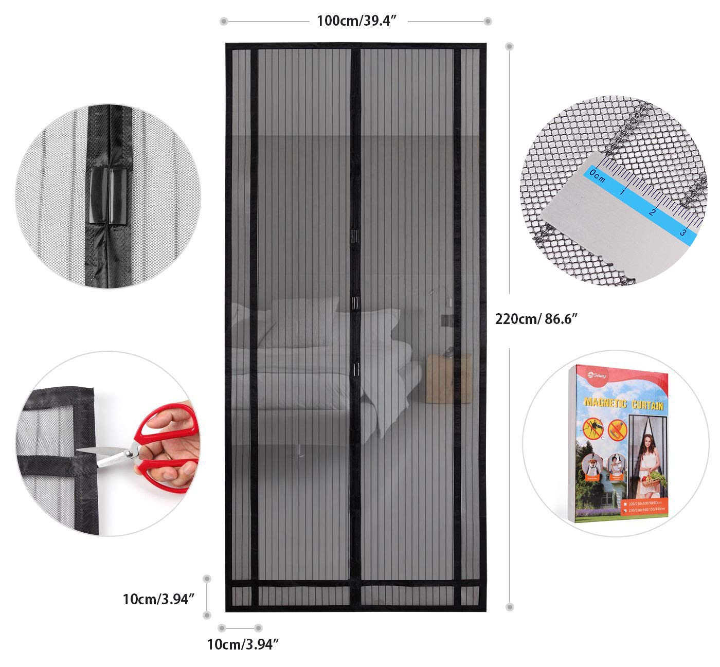 Sekey Magnetic Screen Door with Heavy Duty Fiberglass Mesh Curtain, Fits Door Size up to 39''X 86'' Max, Black