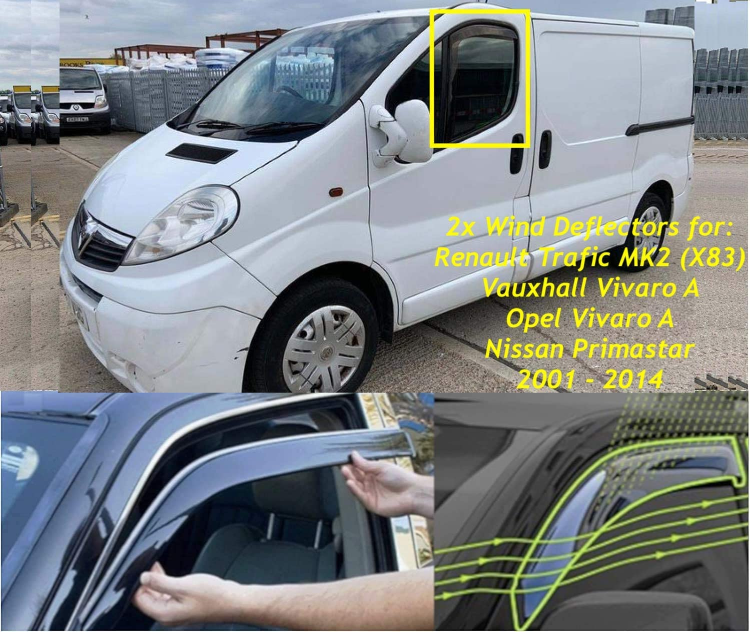 Primastar 2001 2002 2003 2004 2005 2006 2007 2008 2009 2010 2011 2012 2013 2014 Vauxhall Vivaro A 2 d/éflecteurs dair fabriqu/és pour Renault Trafic X83
