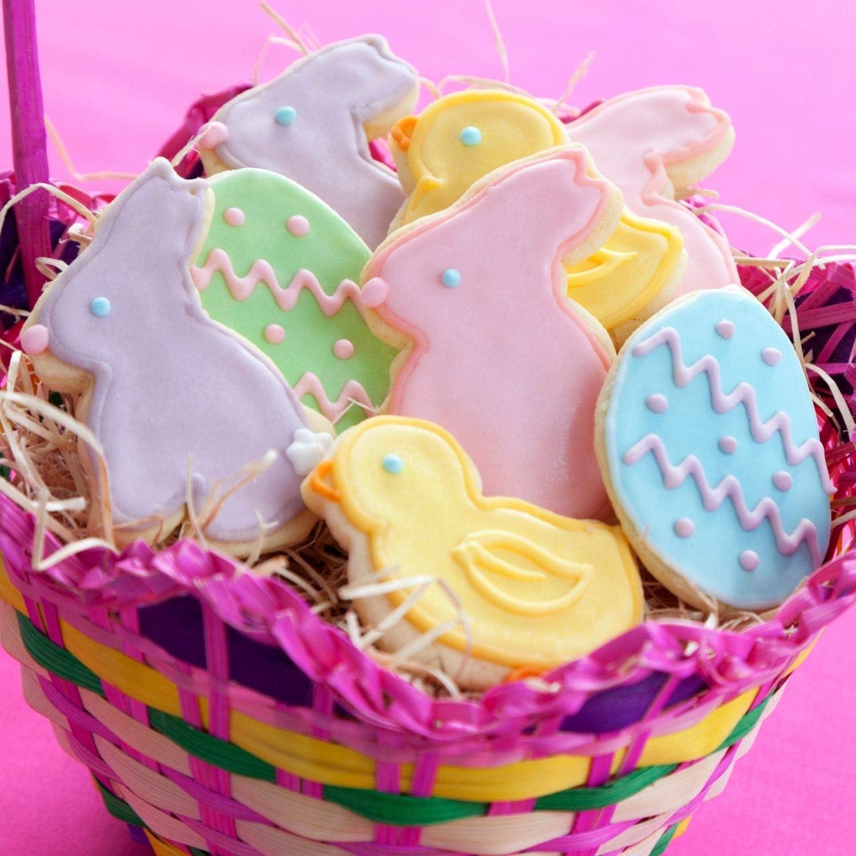 Crethink Huevo y cara de conejo con forma de pollo cortadores de galletas Juego de cortadores de galletas de Pascua 4 piezas