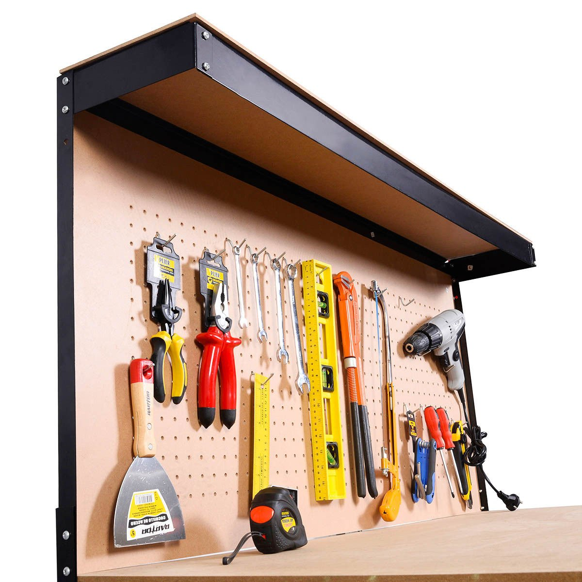 Work Bench Tool Storage Steel Frame Workshop Table W/ Drawer & Peg Board by Allblessings (Image #6)