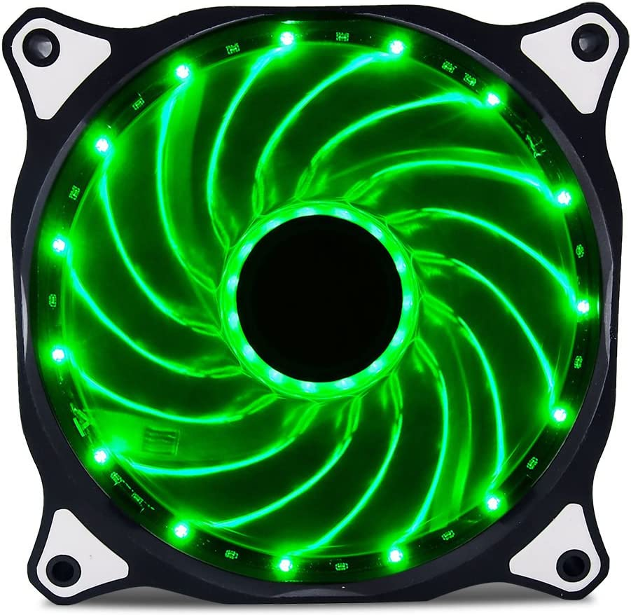 Vetroo 120mm Green 15-LEDs Cooling Fan for Computer PC Cases, CPU Coolers and Radiators
