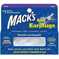 Mack'S Soft Flanged (2-Pair) Aqua Block Earplugs, Clear