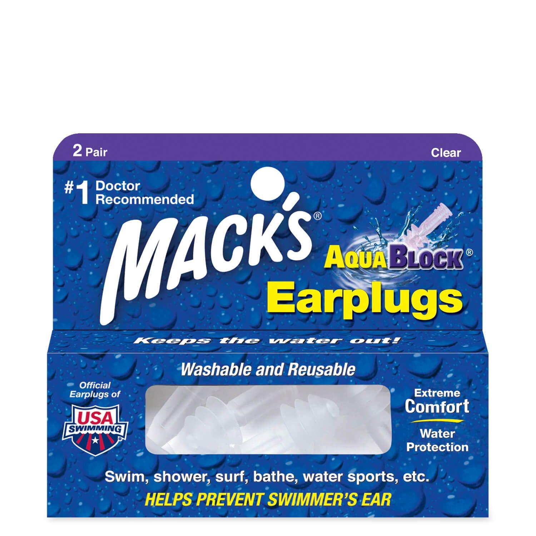 Macks Soft Flanged (2-Pair) Aqua Block Earplugs, Clear A.C. Kerman - LE ME-13-Clear