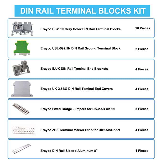 Erayco DIN Rail Terminal Blocks Kit, 20Pcs UK-2 5N 12 AWG Terminal Blocks,  2Pcs Ground Blocks, 2Pcs Fixed Bridge Jumpers, 4Pcs End Brackets, 4Pcs End
