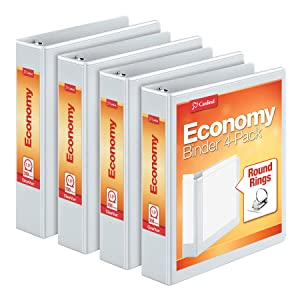 """Cardinal Economy 1.5"""" Round-Ring Presentation View Binders, 3-Ring Binder, Holds 350 Sheets, Nonstick Poly Material, PVC-Free, Pack of 4, White (79517)"""