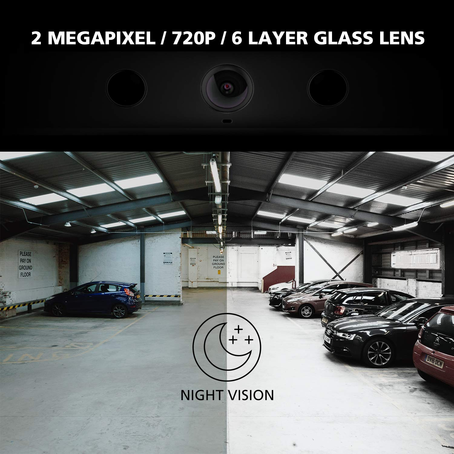 IP67 Waterproof Easy Installation with No Wiring or Drilling Needed ZURCBKUAL-A nonda ZUS Smart Backup Camera Real Wireless Rear View Camera with 170 Degrees Wide Angle and Rechargeable Battery