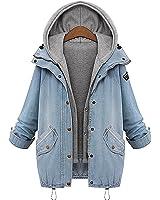 BYD da Donna Casual Giacca Denim Giacche di Jeans 2 in 1 Hoodie Cappotto con Cappuccio Invernale Parka Outwear