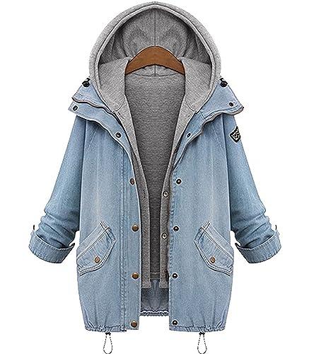 BYD Mujeres 2 en 1 Dos piezas Abrigo Denim Chaquetas de Mezclilla Sudaderas con Capucha Encapuchada Jacket Cardigans Tops