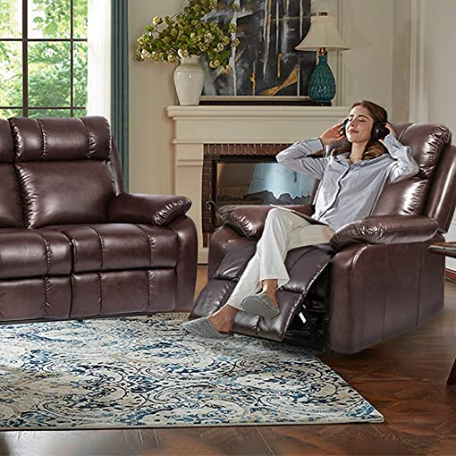 FDW Recliner Sofa Set Sectional Sofa for Living Room Furniture PU Leather Sofa and Couch Manual Reclining Sofa Recliner Chair, Love Seat, and Sofa 3seat Home Brown