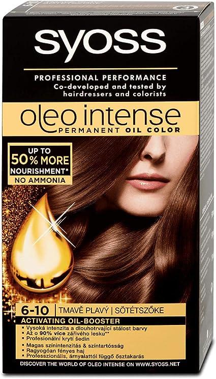 Syoss Oleo Intense Tinte para el cabello 100% aceites puros, 0% amoníaco 6-10 rubio oscuro