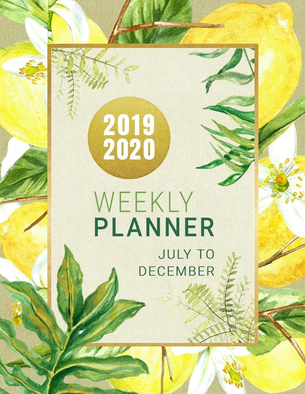 2019 2020  Lemon Planner 18 Month Weekly Monthly July 2019   December 2020 8.5x11   Large Artsy Calendar Organizer For Women With Notes Section + Dot Grid Pages   Tropical Fruit Palm Leaves Art Design