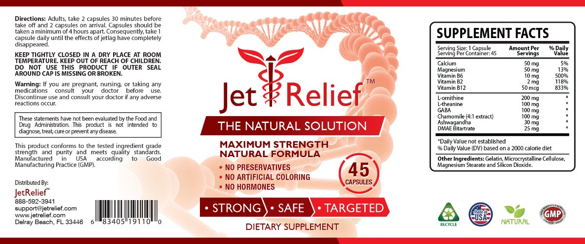 JetRelief - The #1 Choice for Jet Lag Relief - 100% Pure & Natural with NO MELATONIN- Helps Regulate Circadian Rhythm - With DMAE, Vitamin B and Magnesium - 100% Money Back - 6 Bottles Supply by JetRelief (Image #3)