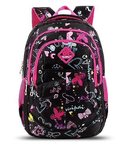 Tibes Waterproof Cute Backpack School Kids Girls Book Bag Black ...