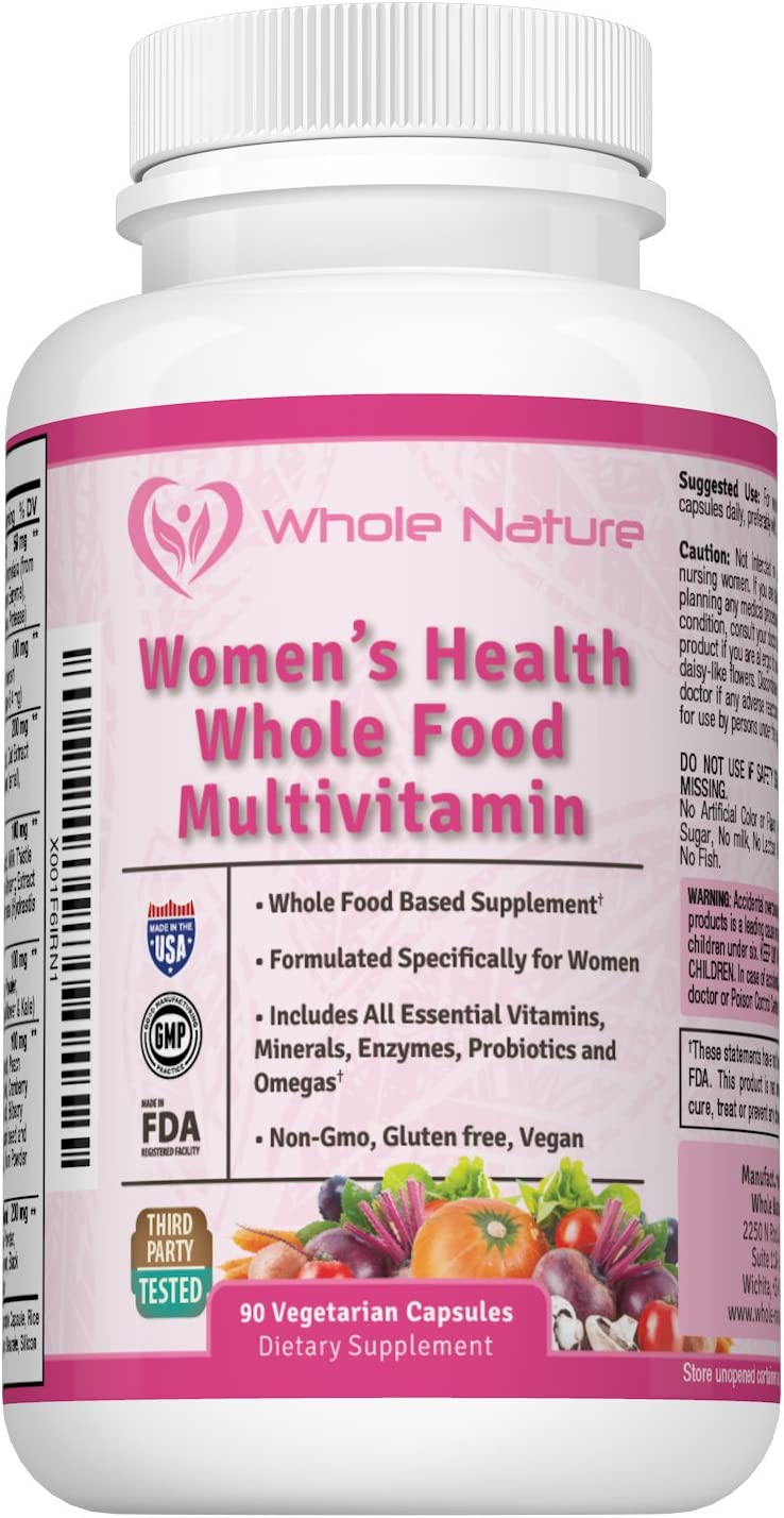 Whole Food Multivitamin for Women Whole Nature Women s Multi Vitamin with Essential Vitamins, Minerals, Probiotics and Omegas – Vegan, Non GMO and Gluten Free Daily Supplement – 90 Capsules