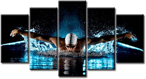 Swimming Sports Wall Art Decor Olympics Swimmers Competition Athletes Swim Theme Photo Inspirational Poster Motivational Picture Canvas Print Artwork For Bedroom Living Room Dorm Decorations Home Kitchen