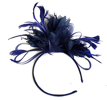 781180dda0ce6 Navy Blue Feather Hair Fascinator Headband Wedding and Royal Ascot Races  Ladies  Amazon.co.uk  Clothing