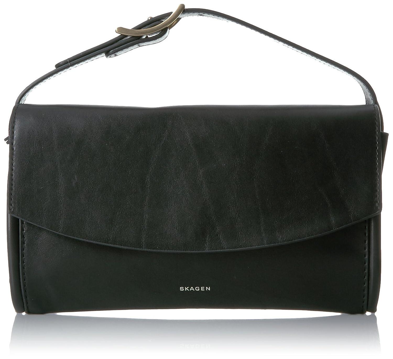 Skagen Josefa Leather Flap Clutch Black Amazon Clothing