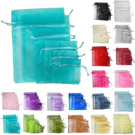 TtS 200PCS 17x23cm Bolsas de Organza Bolsas Regalo Joyas Fiesta Boda Candy Favor Decoración (Aqua)