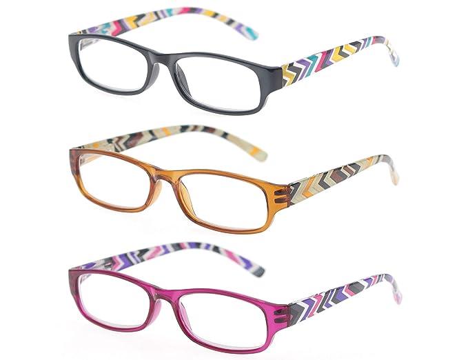 Amazon.com: MODFANS - Gafas de lectura, 3 pares, con bisagra ...