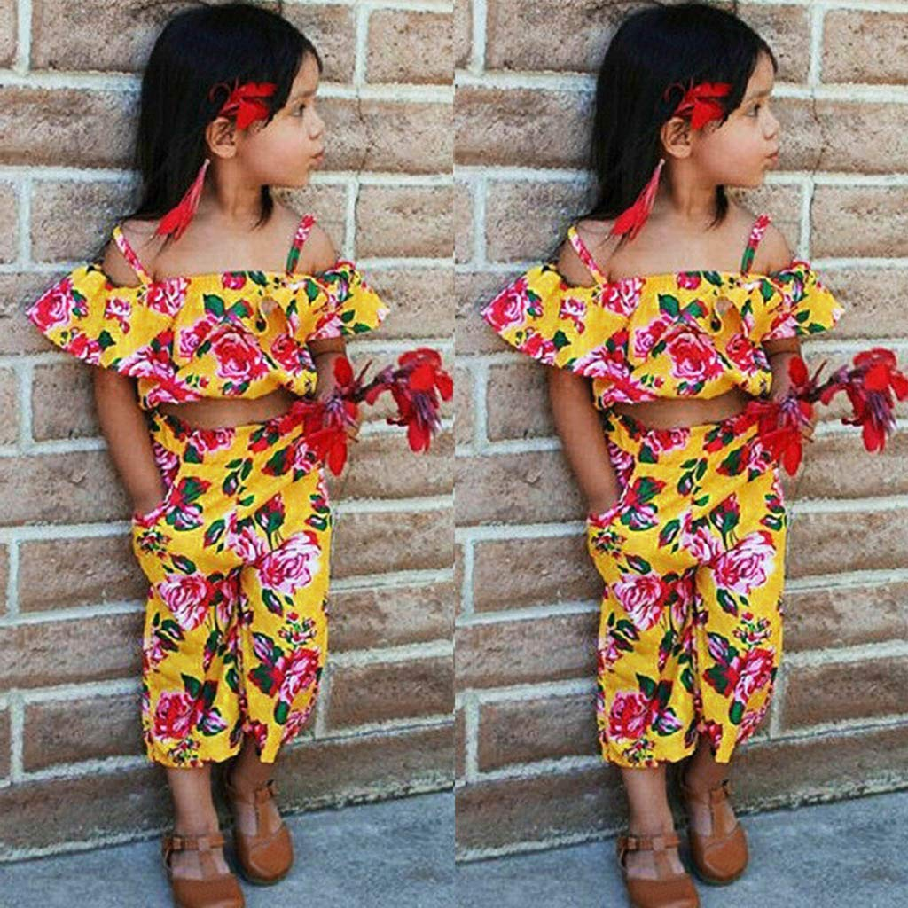 Womola Toddler Kids Baby Girl Clothes 2pcs Outfits Halter Floral Print One-Shoulder Crop Top Pants Set