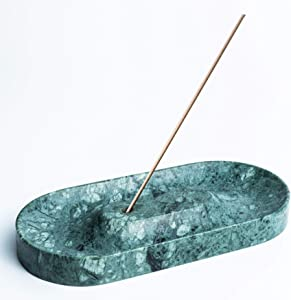 A.C.T. Essential Green Marble Incense Holder   Incense Burner   Incense Tray with Ash Catcher   Marble Decor   Palo Santo Holder