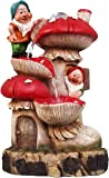SINTECHNO SNF91159-1 Gnomes with Tall Mushroom House Water Fountain