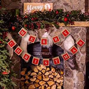 Merry Christmas Banners, Holiday Christmas Decoration Burlap Banner,Christmas Sign Hangings for Windows, Door Entry, Office, Fireplace, Wall