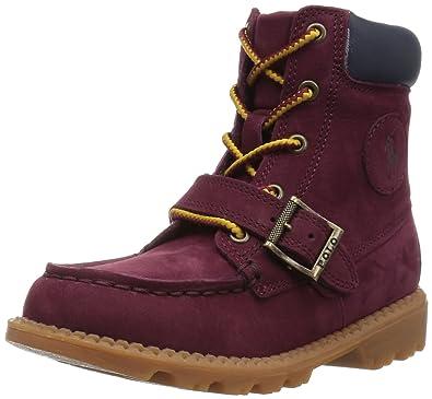 Polo Ralph Lauren Kids Boys\u0027 Randen Fashion Boot, Burgundy Nubuck/Navy, 10
