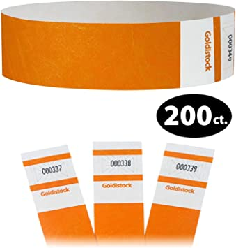 """PAPER ARM.BANDS, TYVEK WRISTBANDS 200 3//4/"""" NEON ORANGE PAPER WRISTBANDS"""
