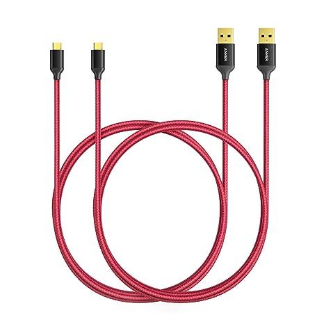 Anker Cable USB de Nylon Entrelazado Libre de Enredos (con Clavija Bañada en Oro;