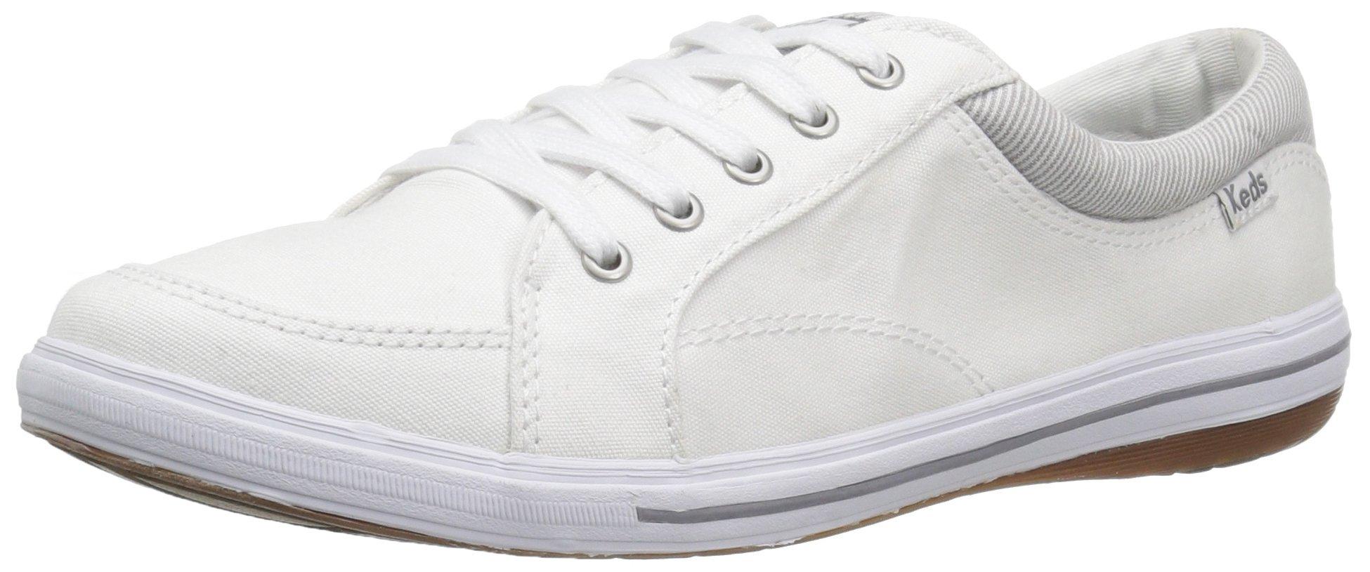 Keds Women's Vollie Chambray Fashion Sneaker, White, 6 M US
