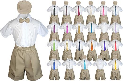 Baby Toddler Boy Kid Wedding Party Suit Gray Shorts Shirt Hat Necktie Set Sm-4T