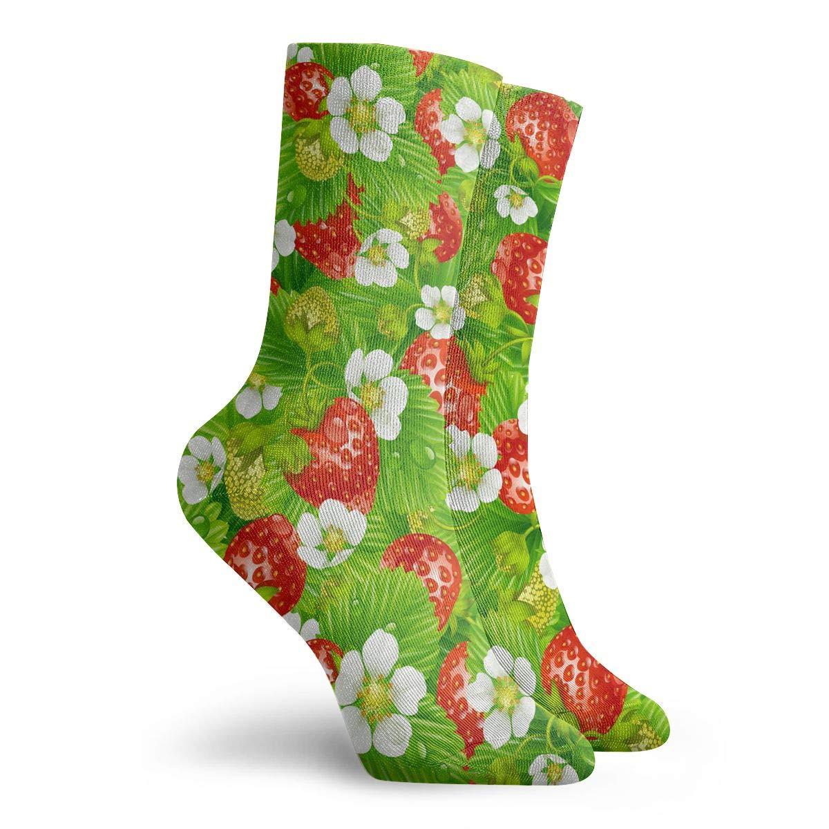 Adult Strawberry Pattern Athletic Crew Socks