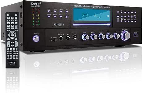 4 Channel Wireless Bluetooth Amplifier - 3000 Watt Stereo Speaker Home Audio Receiver w/ FM Radio, USB, 2 Microphone w/ Echo for Karaoke, Front Loading CD DVD Player, LED, Rack Mount - Pyle PD3000BA
