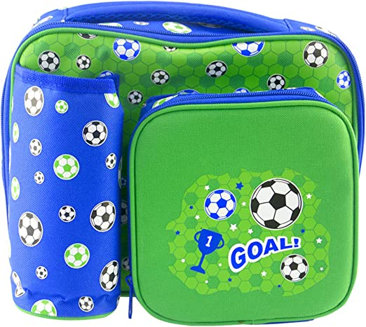 Thermal Insulated Cooler Bag for Toddler Nursery Children Travel-Green Kids School Lunch Box Goys Lunch Bag with Bottle Holder