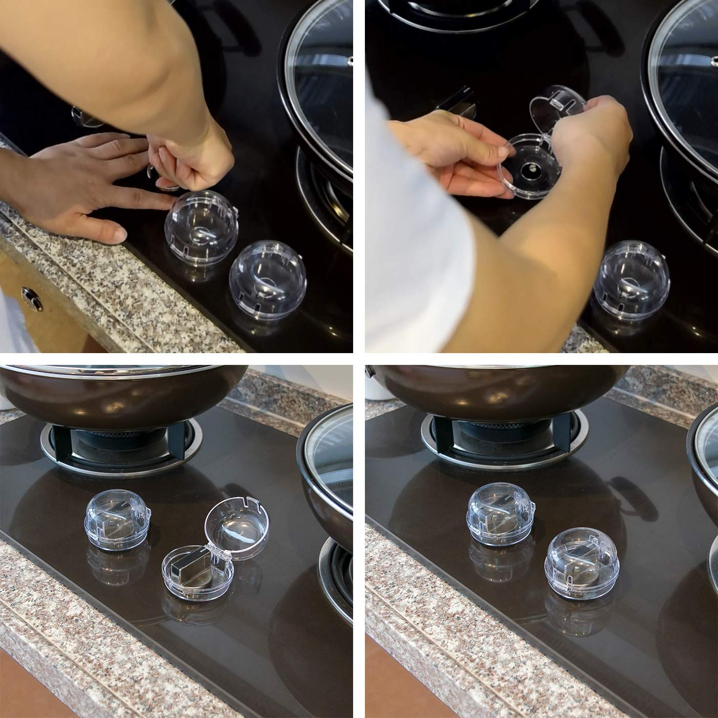 Safety-Novelty Child-Proof Stove Knob Covers - Small 2019 Upgraded Heat Resistant Model | Please Measure Your Knob First | Baby & Kids Kitchen Design | Easy Set-up Clear View by Safety Novelty (Image #7)