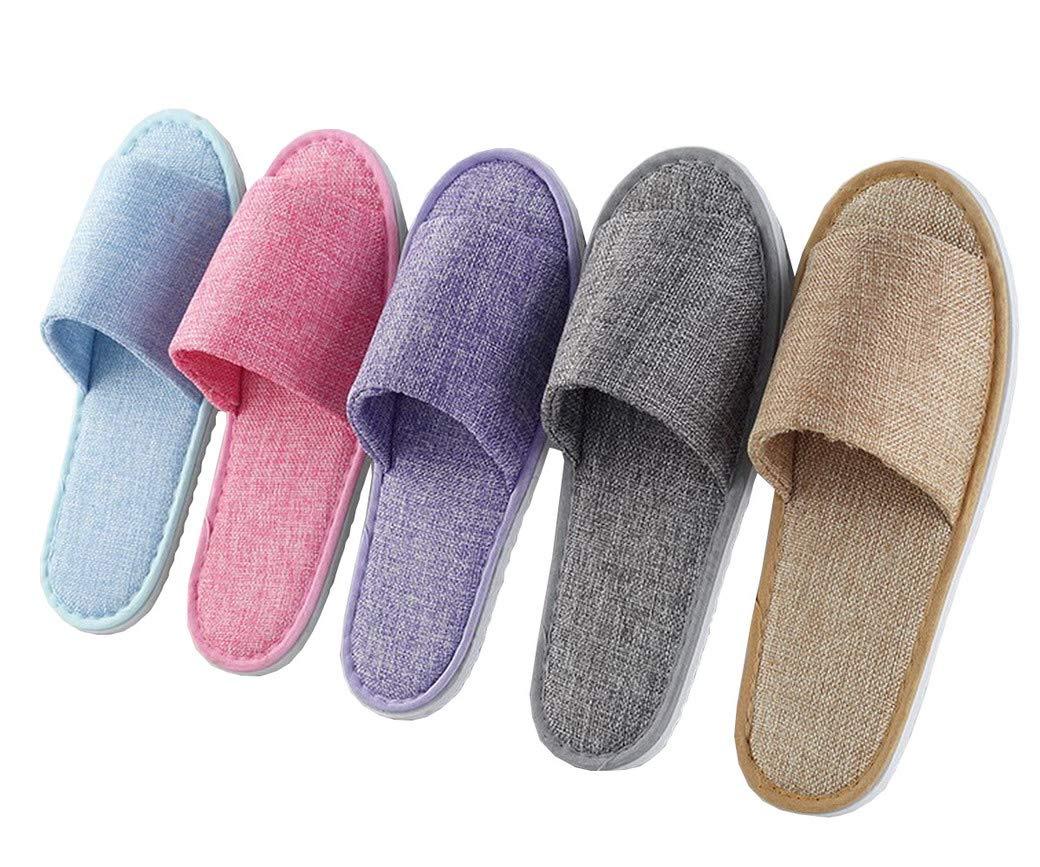 Lelestar Pantofole USA e Getta 5 Paia di Pantofole per Ospiti in Feltro, in 2 Misure Diverse per Uomo Donna YJJIA0238