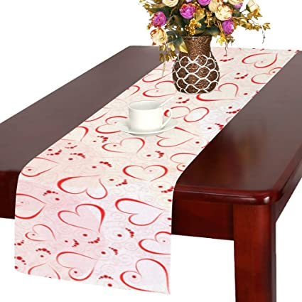 InterestPrint Abstract Red Heart Long Table Runner 14 X 72 Inches, Romantic  Valentineu0027s Day Rectangle
