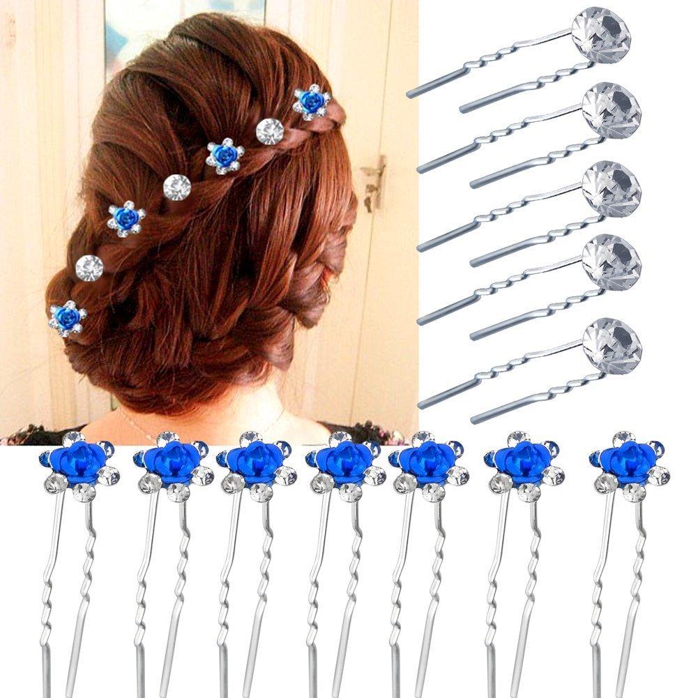 Vanyda, 40 pezzi di forcine per capelli Pearl Flower Rhinestone Hair Pins, per feste, matrimoni (20Blu + 20 Argento)