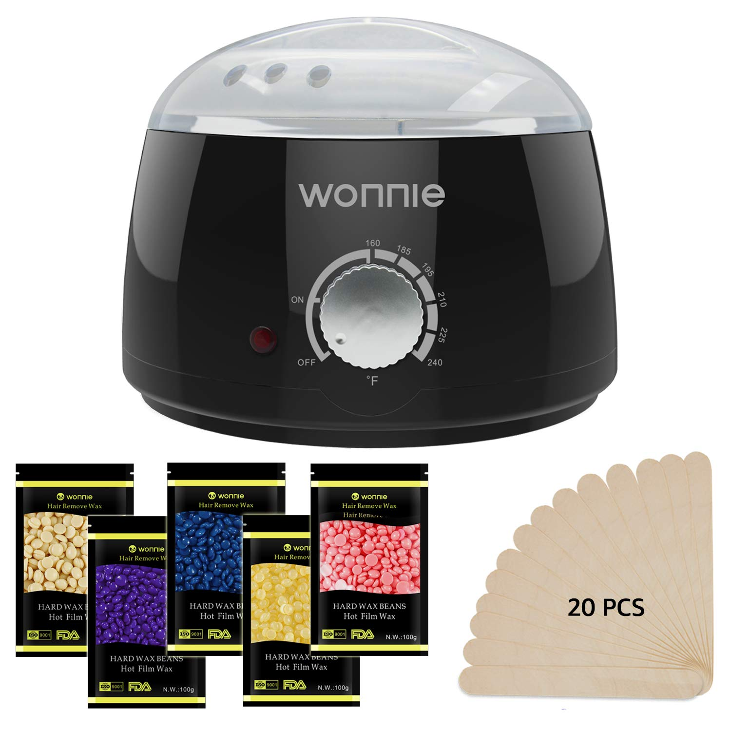 WONNIE Wax Heater Hair Removal Waxing Kits Professional Full Kit with 3 Packs of Hard Wax Beads Wax Warmer with 20 Wooden Sticks for Body Legs Bikini Limber Black