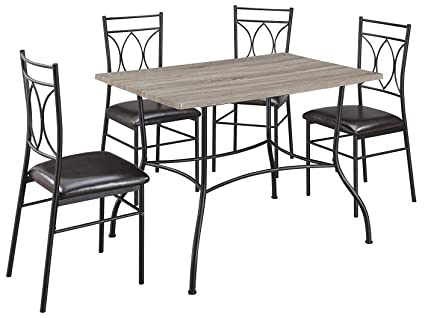 Beau Dorel Living Shelby 5 Piece Rustic Wood And Metal Dining Set, Espresso