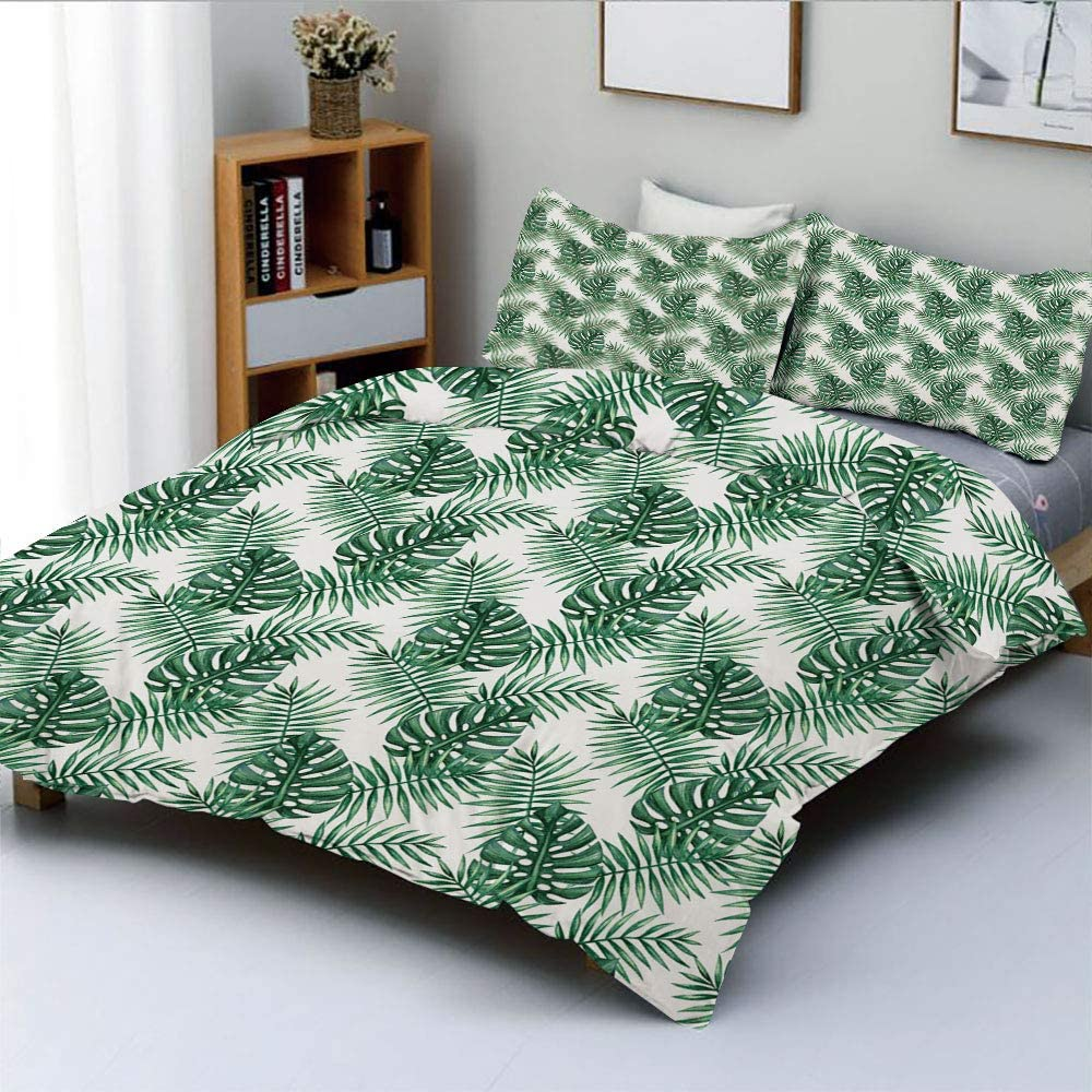 Duplex Print Duvet Cover Set King Size,Palm Mango Banana Tree Leaves in Tropical Wild Safari Island Jungle Image Artwork DecorativeDecorative 3 Piece Bedding Set with 2 Pillow Sham,Forest Green,Best G