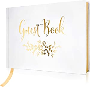 "J&A Homes Wedding Guest Book – Polaroid Album Photo Guestbook Registry Sign-in with Gold Foil & Gilded Edges – White Hardbound Book with Bookmark – 9"" x 6"" Small Gold (100 Pages)"