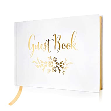 """Wedding Guest Book – Polaroid Album Photo Guestbook Registry Sign-in with Gold Foil & Gilded Edges – White Hardbound Book with Bookmark – 9"""" x 6"""" Small Gold (100 Pages)"""