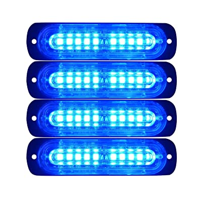 LED Emergency Strobe Lights Bar DIBMS 4x Blue Ultra Slim 10-LED Strobe Warning Emergency Flashing Light Caution Construction Hazard Light Bar For Car Truck Van Off Road Vehicle ATV SUV Surface Mount: Automotive