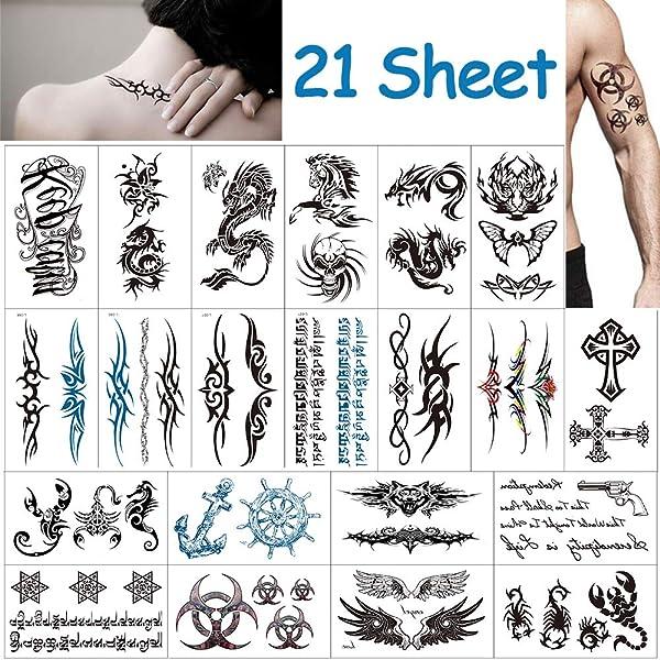 Grandes tatuajes temporales para hombres y adolescentes Falsas ...