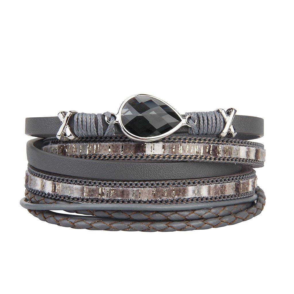 Jenia Genuine Leather Wrap Bracelet - Grey Zircon Braided Rope Cuff Bangle Handmade Wove Jewelry for Women, Girl, Ladies, Teens Gift