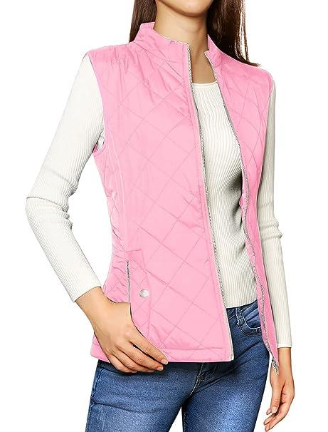 Allegra K Womens Stand Collar Lightweight Gilet Quilted Zip Vest Pink S (US ...