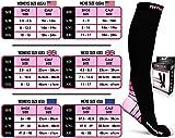 Physix Gear Compression Socks for Men & Women 20-30 mmhg, Best Graduated Athletic Fit for Running Nurses Shin Splints Flight Travel & Maternity Pregnancy - Boost Stamina Circulation & Recovery PNK XXL